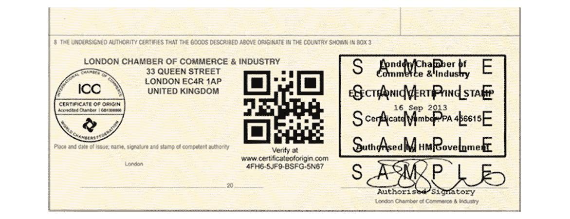 Sample of verified documentation