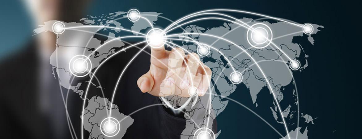 Man touching interactive world map