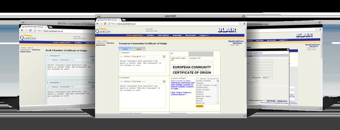 Three screen shots from the QuickCert website